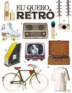 """Uma wishlist cheia de belezinhas no estilo """"retrô"""", aquele antiguinho que a gente ama adorar! Tem capinha, vitrola, rádio, bicicleta, patins e outros produtinhos lindos na linha vintage!"""