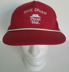 98c3528fb5f Vintage Pizza Hut HAT snapback Cap Red Safe Driver Rare  CrestUniform   Trucker