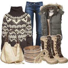 Fairisle cosy winter look. Love the sweater and boots!