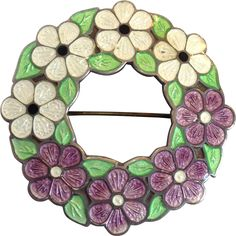 English Suffergette Enamel Wreath of Flowers Pin c 1910