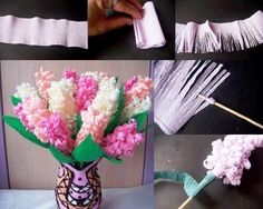 These paper hyacinth flowers are BEAUTIFUL! And they're really easy to make! All you need is a strip of paper and you can make your own beautiful spring bouquet that will last forever. This is such a great spring craft idea that looks so pretty! Handmade Flowers, Diy Flowers, Fabric Flowers, Autumn Flowers, Flower Diy, Tissue Paper Flowers, Paper Roses, Diy Paper, Paper Crafting