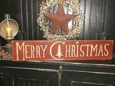 Primitive Farmhouse rustic Wood Merry Christmas Aged Country Home Decor Sign