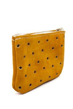 punched suede pouch//