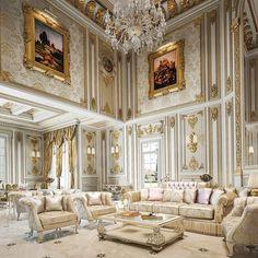 Luxury Living Room Designs - Aren Home Decor Mansion Interior, Luxury Homes Interior, Luxury Home Decor, Home Interior Design, Room Interior, Mansion Rooms, Classic Interior, Luxury Apartments, Elegant Living Room
