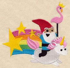 Having a tough Monday? Here, have a FREE gnome riding a unicorn! He'll make any day better -  Magical Ride design (UT5589) from UrbanThreads.com