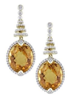 14K Yellow Gold Oval Citrine & Diamond Tiered Drop Earrings