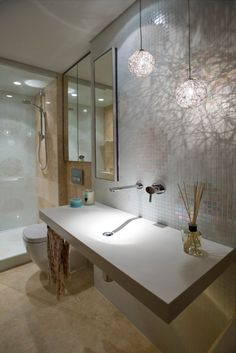 Bathroom Fitting a Shower Into Your Tiny Bathroom: Wall Tiles Small Bathroom Design Ideas With Elegant Hanging Lamp Ideas Also Abstract Wall Decal Ideas Bathroom Spa, Simple Bathroom, Serene Bathroom, Concrete Bathroom, Glass Bathroom, White Bathroom, Modern Bathroom, Bathroom Ideas, Bad Inspiration