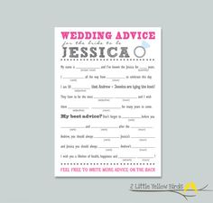 BrideToBe Advice Card  MAD LIBS by 2littleyellowbirds on Etsy...Maybe for the Bridal Shower?