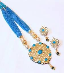 Buy TRENDY KUNDAN FIROZA PEARL NECKLACE SET necklace-set online
