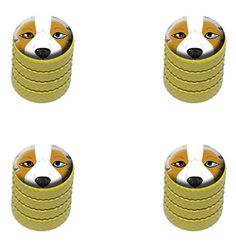 """Amazon.com : (4 Count) Cool and Custom """"Diamond Etching Australian Shepherd Top with Easy Grip Texture"""" Tire Wheel Rim Air Valve Stem Dust Cap Seal Made of Genuine Anodized Aluminum Metal {Yellow + Orange Colors} : Sports & Outdoors"""