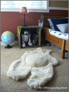 Bear Rug Little Brags: Little Boys Bedroom and an old crate