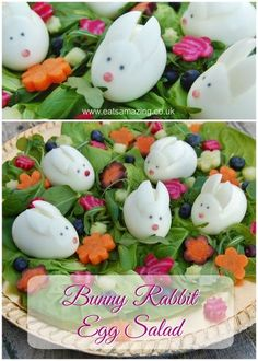Bunny Rabbit Easter Salad from Eats Amazing UK - Fun Easter food idea with simple boiled egg rabbits food healthy Easter Food Idea: Bunny Rabbit Easter Salad Easter Snacks, Easter Treats, Easter Recipes, Easter Food, Easter Salads Ideas, Easter Bunny Eggs, Cute Easter Bunny, Happy Easter, Easter Dinner