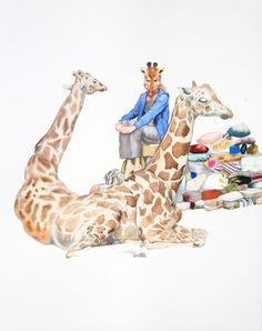 Giraffe -- Laura Ball Giraffe Images, Giraffe Art, Giraffes, Sweet Station, Creative Skills, Animals Beautiful, Illustration Art, Illustrations, Crafty
