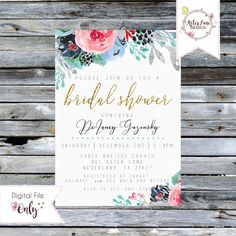 """Bridal Shower Invitation // Blush, Mint, Navy, and Gold Floral // 5""""x7"""" // Personalized Printable by AsterLaneDesign on Etsy https://www.etsy.com/listing/573222323/bridal-shower-invitation-blush-mint-navy"""