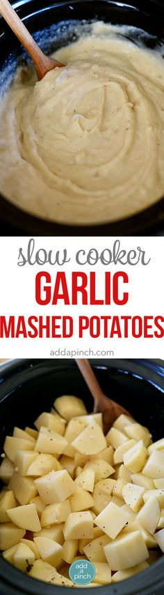 Slow Cooker Garlic Mashed Potatoes Recipe - This Slow Cooker Garlic Mashed Potatoes recipe makes an easy way to make a favorite side dish by letting the slow cooker do all the hard work! // addapinch.com