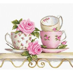 Cross Stitch Kit Roses and tea cups DIY Cross stitch Set Hand Embroidery Handmade gift Wall Decor Home decor Idea Gift – hand embroidery Cross Stitch Rose, Modern Cross Stitch, Cross Stitch Designs, Cross Stitch Patterns, Embroidery Kits, Cross Stitch Embroidery, Needlepoint Kits, Counted Cross Stitch Kits, Cross Stitching