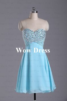 Blue Prom Dress/ Short Prom Dress/ Sweetheart Dress