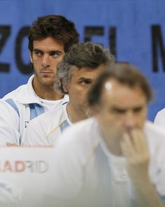 Juan Martin Del Potro Photos Photos - Juan Martin Del Potro of Argentina looks on during the Davis Cup doubles semi final between Serbia and Argentina, at Belgrade Arena on September 17, 2011 in Belgrade, Serbia. - Serbia v Argentina - Davis Cup World Group Semi Final - Day Two