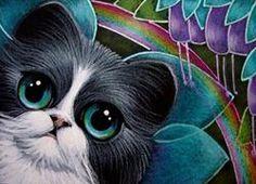 Art: TUXEDO FAIRY CAT IN MY GARDEN & RAINBOW by Artist Cyra R. Cancel