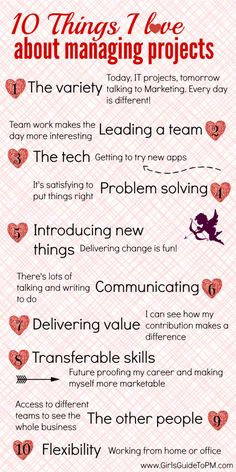 10 Things I love about managing projects. A project manager's countdown of 10 amazing things about her job!