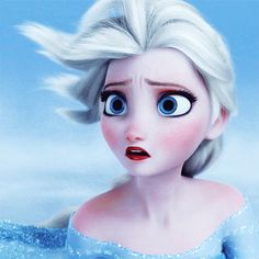 "Elsa gif- This is when she learns Anna had ""died"" from Hans. Look at the detail of how red her cheeks are and how blue her eyes are....."