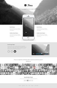 Focus PSD Theme App Landing Page Freebie