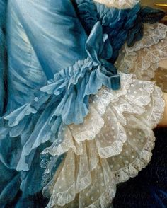 Sleeve, ruche, and three tired lace ruffles detail from Franois Hubert Drouais' 1757 painting of the French actress Madame Charles Simon Favart (Marie Justine Benote Duronceray). See full length painting here: http://pinterest.com/pin/278589926921051691