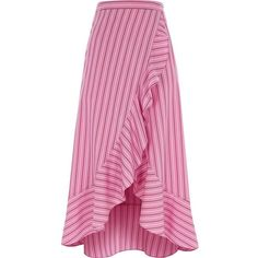 River Island Pink stripe frill hem skirt ($76) ❤ liked on Polyvore featuring skirts, pink striped skirt, pink skirt, pink knee length skirt, tall skirts and river island skirts