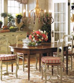 Pierre Deux...french country (I like the wood stain table paired with the painted chairs.)
