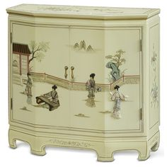 Wonderful White Lacquer Console Cabinet With Soapstone Motif