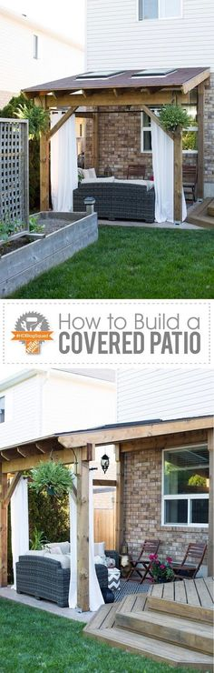 Take the indoors outside - build a covered patio! This step-by-step post will show you how to build a lean-to style patio cover just in time for summer. Take the indoors outside - build a covered patio! This step-by-step post will show you how to build a Back Patio, Patio Roof, Backyard Patio, Backyard Landscaping, Patio Privacy, Backyard Furniture, Pergola Patio, Awning Patio, White Pergola