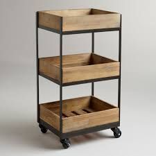 Our Wooden Gavin Rolling Cart features a crate look and casters so that you can easily move it from room to room. A refreshing way to organize a small home office or store bathroom essentials, you won't be able to resist this decorative storage solution. Diy Kitchen, Kitchen Storage, Kitchen Carts, Bathroom Storage, Bathroom Cart, Kitchen Small, Wood Storage, Diy Storage, Storage Boxes