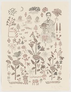 """Sampler  Kiki Smith (American, born Germany 1954)    2007. Letterpress with ink and foil additions, composition (irreg.): 21 1/8 x 15 11/16"""" (53.7 x 39.9 cm); sheet: 24 x 15 3/4"""" (61 x 40 cm). Acquired through the generosity of Susan Jacoby in honor of her mother, Marjorie L. Goldberger and General Print Fund. © 2012 Kiki Smith  308.2008.2"""