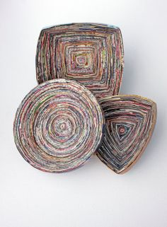 Recycled Magazine Coil Bowls Set of 3 by PaperPlethora on Etsy, $30.00