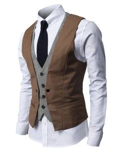 Mens Fashion Business Suit Vest with Layered Style 4 Buttons Point Chain rings Fashion Business, Business Mode, Business Suits, Business Formal, Dress Suits, Men Dress, Dress Vest, Suit Vest, Vest Men