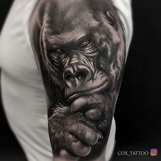 37 Ideas Tattoo Ideas For Guys Dads Life Forarm Tattoos, Life Tattoos, Tattoos For Guys, Gorilla Ink, Gorilla Tattoo, Animal Sleeve Tattoo, Animal Tattoos, Black And Grey Tattoos For Men, Black Tattoos