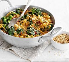 This well-balanced, super-healthy Chickpea, Tomato & Spinach Curry  is vegan-friendly and contains two of your 5-a-day. The recipe is from Kerry Torrens' cookbook Good Food Eat Well: Fasting Day Recipes.