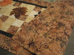 Quilted Table Runner Batik Autumn Leaves @Barbara Acosta Childs