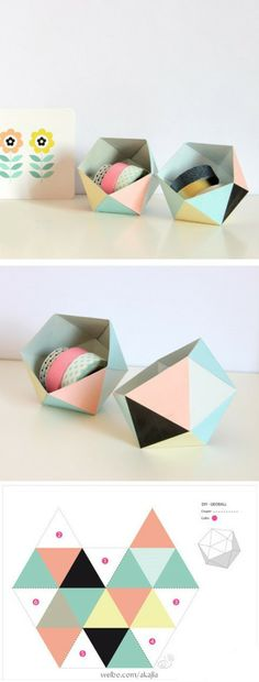 Homemade polyhedron storage boxes to make - very modern and crisp.