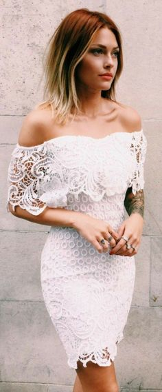 chic bodycon dresses, fashion off shoulder party dresses, short lace fashion gowns, white lace homecoming gowns. Pretty Dresses, Beautiful Dresses, Homecoming Dresses, Wedding Dresses, Dress Prom, Bodycon Dress, Mode Top, Mode Style, Dress To Impress