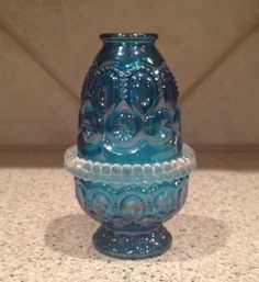 Rare Colonial Blue Le Smith Glass 3pc Candle Fairy Lamp
