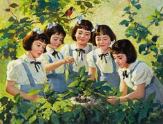 The Dionne Quintuplets, Brown and Bigelow calendar illustration, c. 1944. Oil on canvas by Andrew Loomis (American 1892-1959)