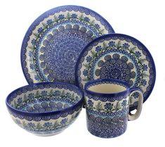 Charleston 4 Piece Dinner Set - Blue Rose Polish Pottery