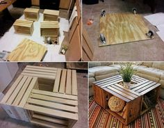 Diy coffee table using crates from Michael's