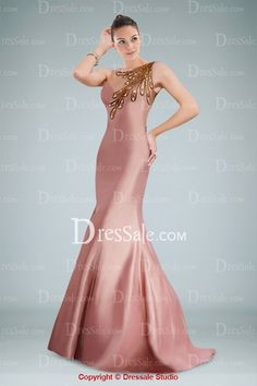 Classy Mermaid Evening Gown Featuring Beaded Applique and Illusion Back