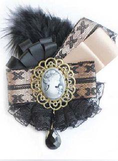 Black Mesh Yoke Girl Pattern Hair Brooches US$8.33