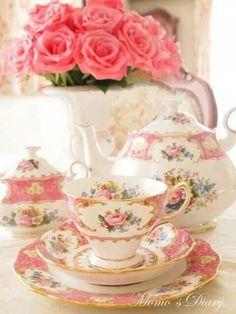My tea set Vintage Dishes, Vintage China, Vintage Teacups, Tea Sets Vintage, Deco Rose, Party Set, China Tea Cups, Teapots And Cups, My Cup Of Tea