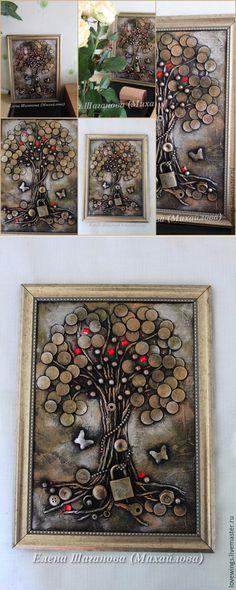 El árbol monetario - de oro, el árbol monetario, el cuadro en el regalo, el regalo al hombre, el regalo al jefe // Елена Виноградова Creative Money Gifts, Creative Crafts, 3d Wall Art, Mural Art, Mixed Media Canvas, Mixed Media Art, Hobbies And Crafts, Diy And Crafts, Magic Day