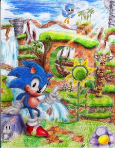 Classic Sonic in his habitat lol Welcome to Green Hill Zone Hedgehog Art, Sonic The Hedgehog, Sonic 25th Anniversary, Classic Sonic, Sonic Mania, Sonic Franchise, Sonic Heroes, Grafiti, Sonic And Shadow