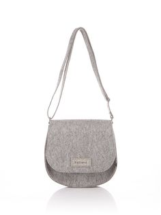 Light grey melange Felt Bag Emma. Original beautiful by FELTTERRA